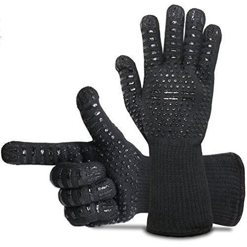 BBQ Gloves Grill Gloves Oven Gloves 932°F Extreme Heat Resistant Gloves EN407 Certified 1 Pair 14' Long for Extra Forearm Protection BBQ Kitchen Oven Mitts (Black)