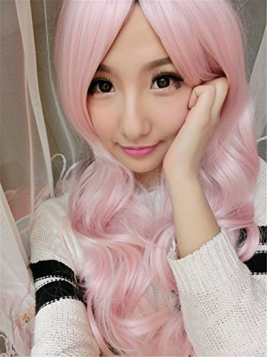 [S_SSOY Women's 65cm Light Pink Long Wavy Ombre Wig Universal Synthetic Spiral Hair Wigs Hairpiece for Girl Lady Women Halloween Cosply Costume Christmas Party Daily Use] (Hot Butler Costume)