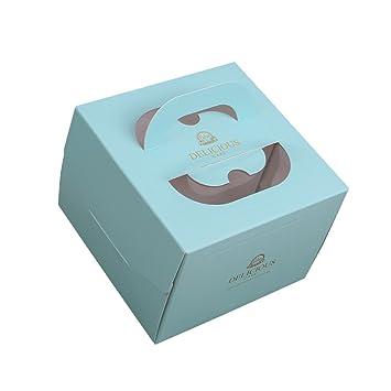 Zhi Jin 2pcs mango papel cajas de cartón cuadradas para tartas Bakery de postre comida con ventana caja bandeja Set de regalo 8 Inch: Amazon.es: Hogar