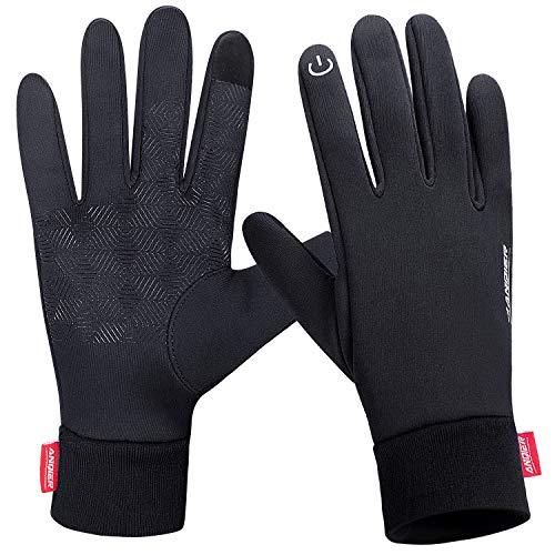Lanyi Winter Warm Gloves Touchscreen Windproof Anti-slip Outdoor Cycling Work Snowboard Driving Black Gloves Men Women (Mediun) (Best Horseback Riding Gloves)