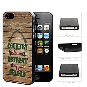 Country Girl, Retreat, Reload Cute Guns Quote on Brown Wooden Pattern iPhone 4 4s Hard Snap on Plastic Cell Phone Cover