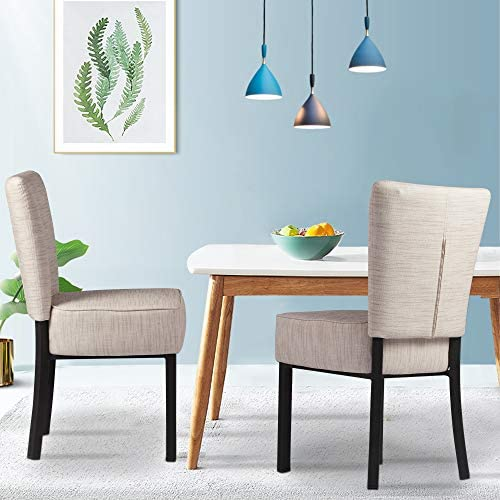 LUCKYERMORE Upholstered Dining Chairs Set of 2 PU Leather Modern Dining Room Chair