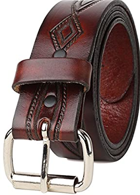 Western Vintage antique Top Grain leather Belt,Roller buckle,w/Snaps for Interchangeable Buckles,Made in USA