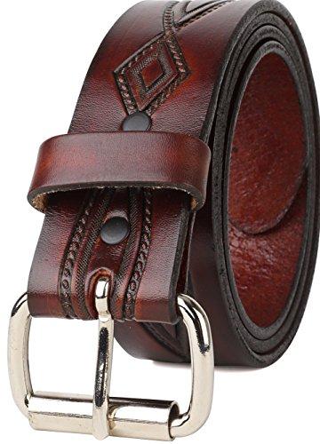 Mens Western Belt - Men's Top Grain Western leather Belt ,easy to change Roller buckle,1.5