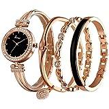 ساعة يد للنساء من بيرنز مع عدد 3 أساور، ستانلس ستيل، لون ذهبي وردي