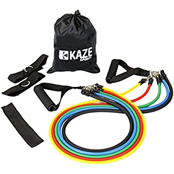 KAZE SPORTS Fitness Resistance Band Set with Door Anchor, Ankle Strap, Exercise Chart and Carrying Pouch
