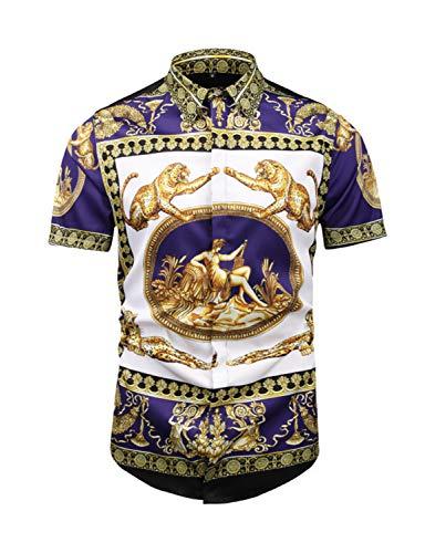 - PIZOFF Men's Short Sleeve Luxury Golden Leopard Flowers Print Design Button Down Dress Shirt Party T-Shirt AL003-83-S