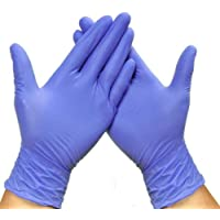 EiioX 100 Pcs Nitrile Disposable Gloves, Powder Free, Rubber Latex Free, Medical Exam Gloves, Non Sterile, Comfortable Industrial Rubber Gloves, Purple (M)