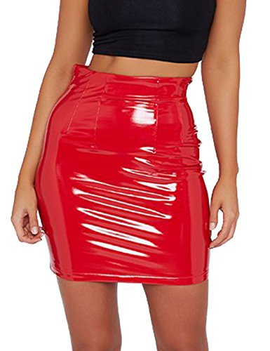 just quella Women's Classic High Waisted Sexy Slim Mini Pencil Leather Skirt 9043 (Red, S) ()