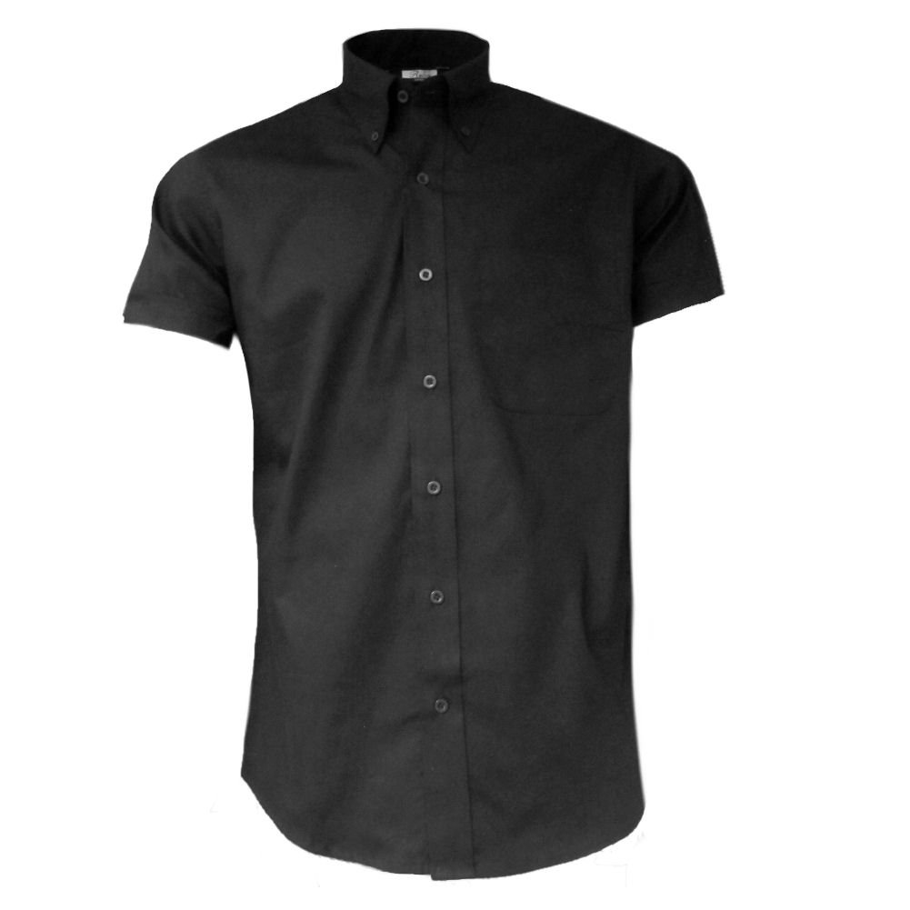 Relco Mens Short Sleeve Oxford Shirt Black L