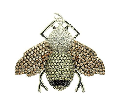 GOODBEAD CZ Micro Pave Diamond Single Body Stripe Bee Pendant Charm 30x35mm (Silver)