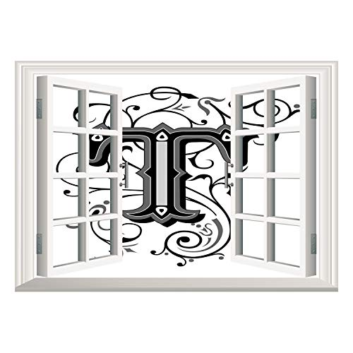 - SCOCICI Wall Sticker,Window Looking Out Into/Letter T,Symmetrical Uppercase Letter in Renaissance Art Style Ornamental Monochrome Decorative,Black Grey White/Wall Sticker Mural