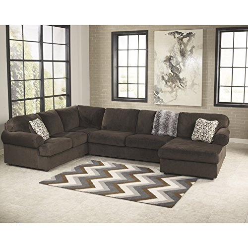 Signature Design by Ashley Jessa Place Sectional in Chocolate Fabric (Microsuede Sectionals)