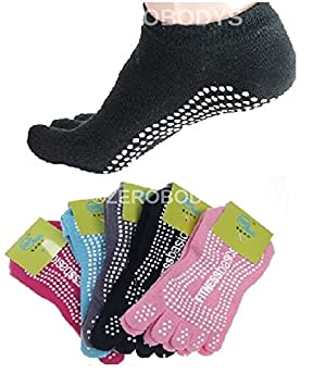 Yoga calcetines de cinco dedos Goma Antideslizante Pilates, negro, UK 4-8