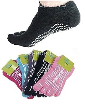 Yoga calcetines de cinco dedos Goma Antideslizante Pilates, negro, UK 4-8