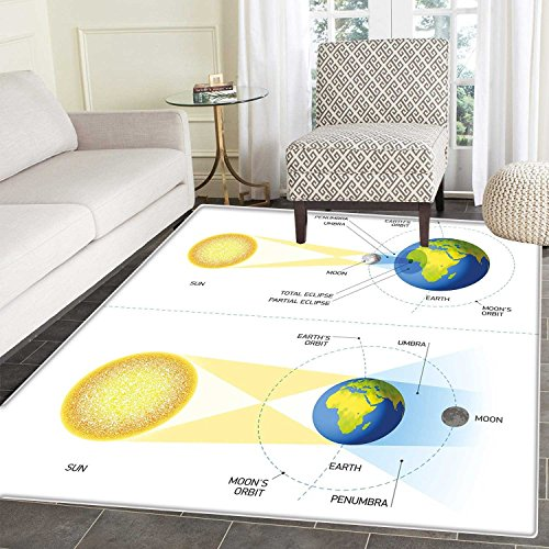 Educational Area Rug Carpet Solar and Lunar Eclipse Planet Earth Sun Moon Orbit Astronomy Science Living Dinning Room and Bedroom Rugs 3'x4' Blue Green Mustard by Carl Morris