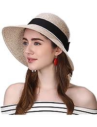 Siggi Womens Floppy Summer Sun Beach Straw Hat UPF50 Foldable Wide Brim  55-60cm d69040bcb806