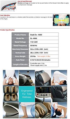 Osaki OS-4000 Black-Beige  Zero Gravity Shiatsu Massage Chair with 200 Dollar Coupon