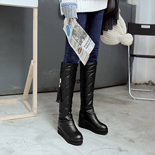 JIEEME Ladies Winter Slip-On Round Toe Flat Tassel Women Snow Boots Pink Black Knee-High Women Shoes Black xejdo1wE