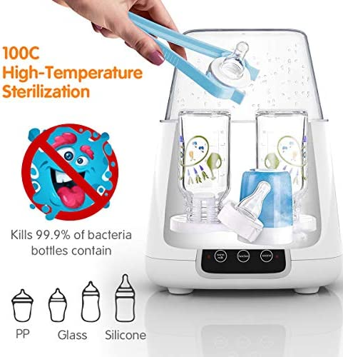 51kt5lPTBoL. AC - TBI Pro 5-in-1 Portable Fast Baby Bottle Warmer For Baby Milk Breastmilk - Bottle Sterilizer With Timer Safe Auto-Off Function - Two Bottles BPA-Free For Babies Infant Food Rapid Defrosting Heating