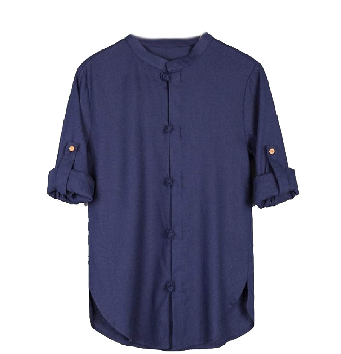 RDHOPE-Men Regular-Fit Solid-Colored Big Tall Cotton//Linen Woven Shirt
