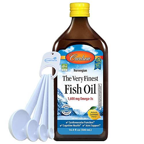 Carlson Fish Oil 1600 mg Omega 3 Supplement Lemon Flavor, 16.9 fl oz Bundle with a Lumintrail Measuring Spoon Set