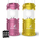MalloMe LED Camping Lantern Flashlights For Backpacking & Camping Equipment Lights - Best Gift Ideas (6 AA Batteries Included), Pink & Yellow