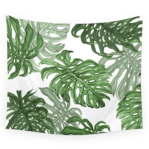 QEES Tropical Palm Leaves Decor Tapestry Pattern Green Leaf Light-Weight Polyester Fabric Hippie Hanging Wall Decor Bedroom Living Room Dorm Wall Hanging(78