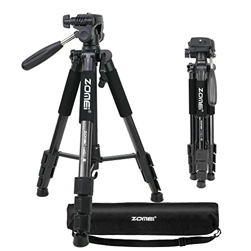 Price comparison product image ZOMEI Q111 Portable Professional Light Weight Traveler Tripod with Pan Head for Camera DSLR DV Canon Nikon Sony, Black