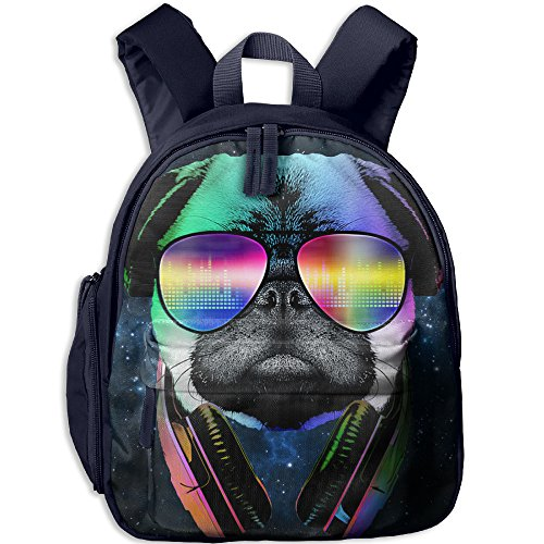 Cool Pug With Headphone Kids School Bag Have Double Zipper - Lovato Demi Sunglasses