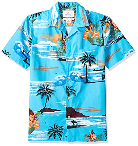 28 Palms Men's Standard-Fit 100% Cotton Tropical Hawaiian Shirt, Ocean Blue Surf Scenic, XX-Large