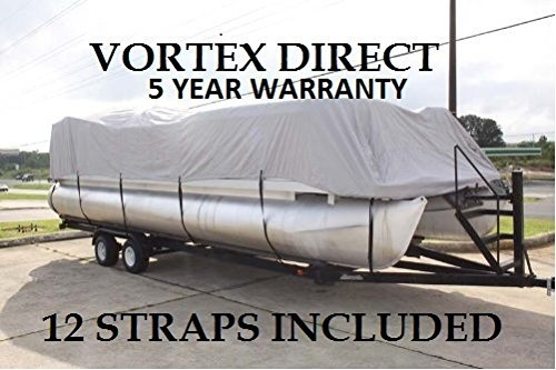Vortex New Grey 24 FT Ultra 5 Year Canvas Pontoon/Deck Boat Cover, Elastic, Strap System, FITS 22'1'' FT to 24' Long Deck Area, UP to 102'' Beam (Fast - 1 to 4 Business Day DELIVERY) by Vortex