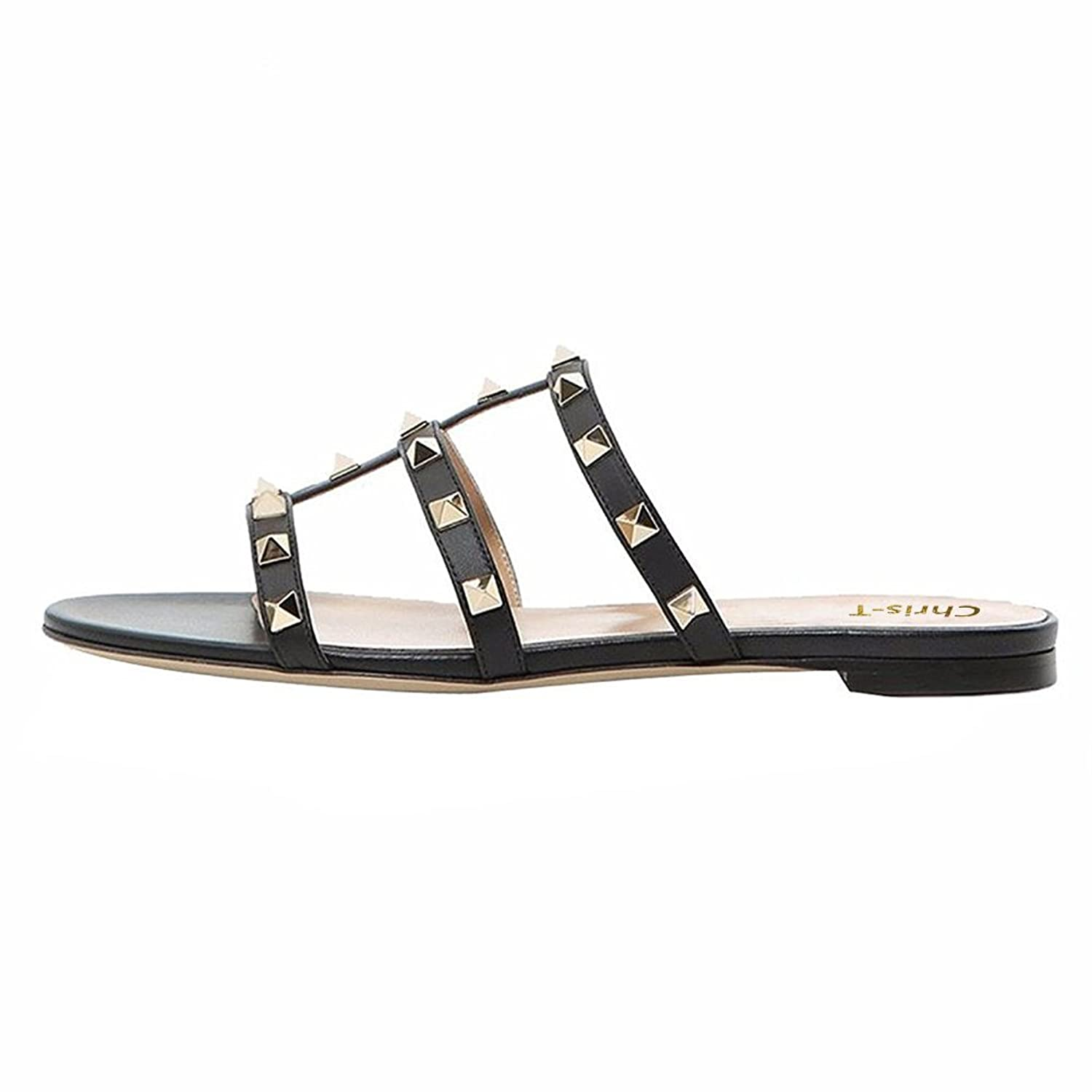 Chris T Womens Mules Flats Rivets Slides Rockstud Strappy Studded Sandals Backless Dress Slippers 5 14 Us by Chris T