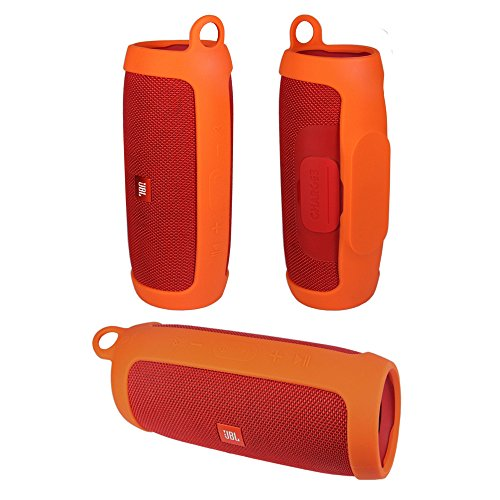 - Durable Silicone Cover Carrying Case Pouch Sleeve for JBL Charge 3 Charge3 Speaker Extra Carabiner Offered (Sling Orange)