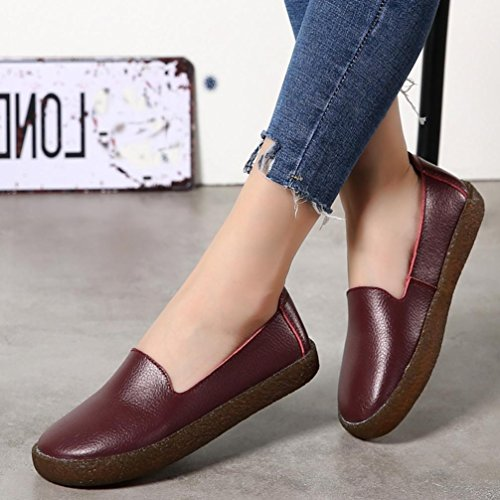 Soft Women 2018 Wine Sneakers Toe Loafers Gym Shoes Slip on Board Flat Red Running Round Casual Leather ZWr0Wpg67