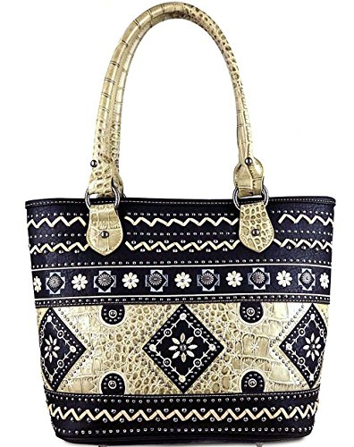 Montana West Concealed Carry, Embroidered Tote w/ Leather Croc Accents- Black