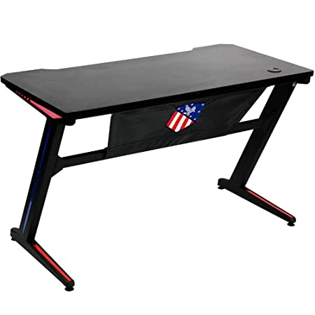 INSORIA Ergonomic Z Shaped Gaming Desk PC Gaming Desk, Computer Gaming Desk Table with RGB Lights Black