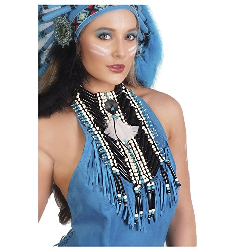 Unisex Native American Indian Costume Breastplate (Blue/Black)