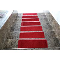 Ottomanson Softy Solid Set of 7 Skid Resistant Rubber Backing Non Slip Carpet (9x26) Stair Tread Mats 7 Piece Set 9 Inch by 26 Inch, 7 Pack, Red