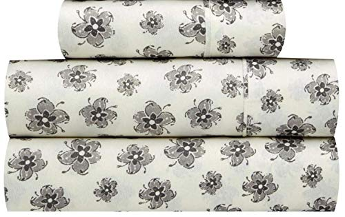 Waverly Traditions Asian Myth Flower Cream and Gray Print 3-Pc. Bed Sheet Set (Twin)