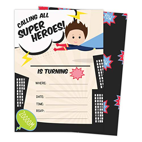 Superhero Boy 1 Happy Birthday Invitations Invite Cards (25 Count) With Envelopes and Seal Stickers Vinyl Boys Kids Party (25ct)]()