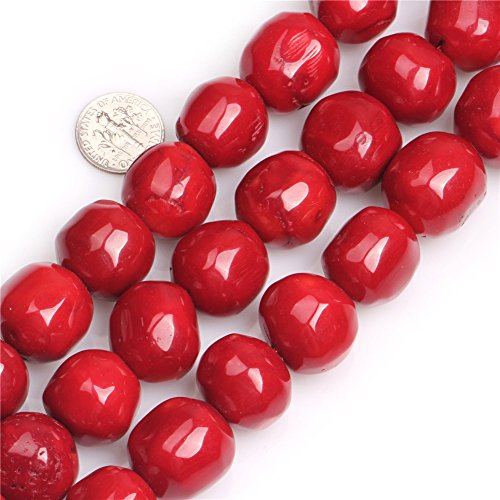 GEM-inside Coral Gemstone Loose Beads Large Red Natural 19x20mm Freeform Round Crystal Energy Stone Healing Power for Jewelry Making 15
