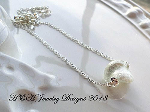 White Silver Foil Murano Pendant Necklace by H&H Jewelry Designs