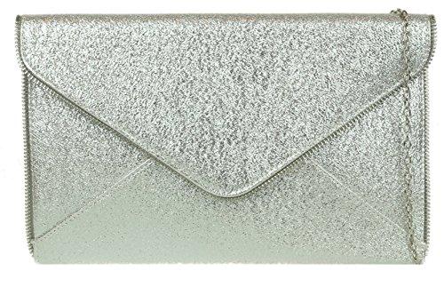 Girly HandBags Zip Trim Clutch Bag Silver