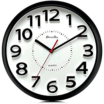 DreamSky 13 Inch Large Wall Clock, Non Ticking Silent Quartz Decorative  Clocks, Battery Operated, Round Retro Indoor Outdoor Kitchen Bedroom Living  Room ...