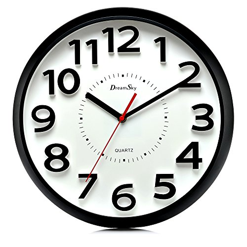 DreamSky 13 Inch Large Wall Clock, Non-Ticking Silent Quartz Decorative Clocks, Battery Operated, Round Retro Indoor Outdoor Kitchen Bedroom Living Room Wall Clocks, Big 3D Number Display. (Plastic Clock Wall)