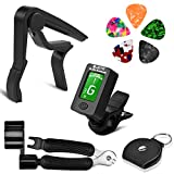 BROTOU Guitar Accessories Kit, Guitar Tuner, Guitar Capo, 3 in 1 String Winder, for Guitar, Bass, Violin, Ukulele, Banjo (Tuner + Capo+ String Winder)