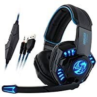 Noswer I8 3.5mm Wired Stereo Gaming Headset LED Light Headphones Headband Headphone with Microphone for PC Computer Laptop PS4 Gamer