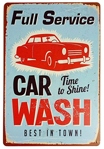 ERLOOD Vintage Tin Sign for Wall Garage Retro Decor Metal Poster Plaque Full Service Car Wash Best in Town 8 X 12
