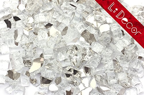 Li Decor High Luster Reflective Tempered Fire Glass,1/2'' Thickness,10 Pounds,for Fire Pit Glass,Fireplace Glass Rocks,Fireplace Decor,Fire Pit Accessories,Crystal Starlight Reflective by Li Decor